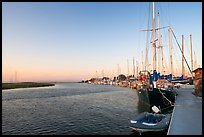 Yachts and Bair Island wetlands, sunset. Redwood City,  California, USA
