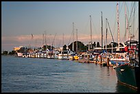 Yachts near Bair Islands, sunset. Redwood City,  California, USA (color)