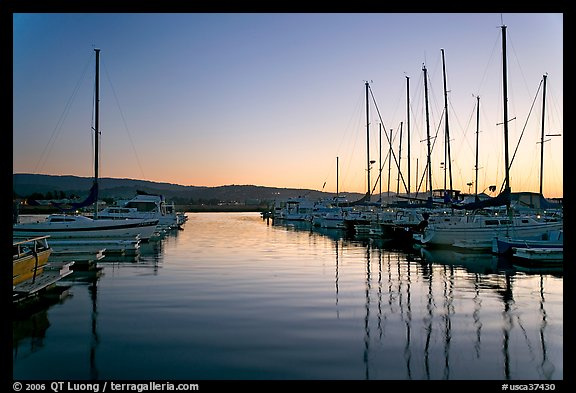 Marina, sunset. Redwood City,  California, USA
