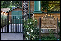 Hewlett-Packard garage and historical landmark sign. Palo Alto,  California, USA (color)