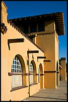 Burlingame train station, in mission revival style. Burlingame,  California, USA (color)