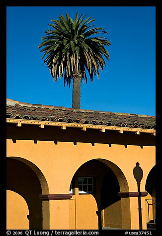 Palm tree and arches, historical train depot. Burlingame,  California, USA (color)