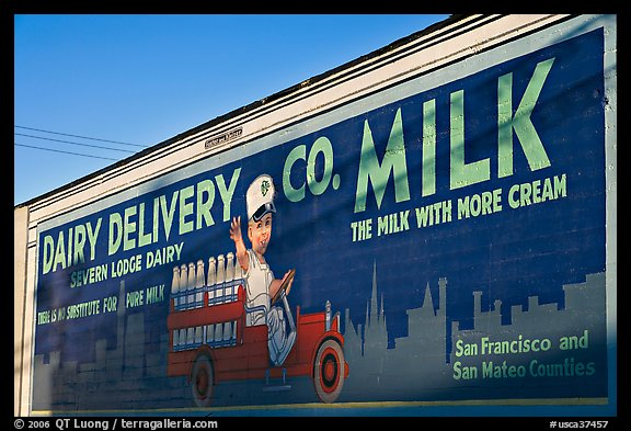 Vintage advertising mural, one of the first of its kind. Burlingame,  California, USA (color)