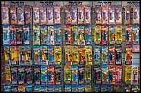 Pez dispensers and candy for sale, Pez museum. Burlingame,  California, USA (color)