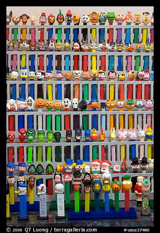 Collection of Pez dispensers, Pez museum. Burlingame,  California, USA