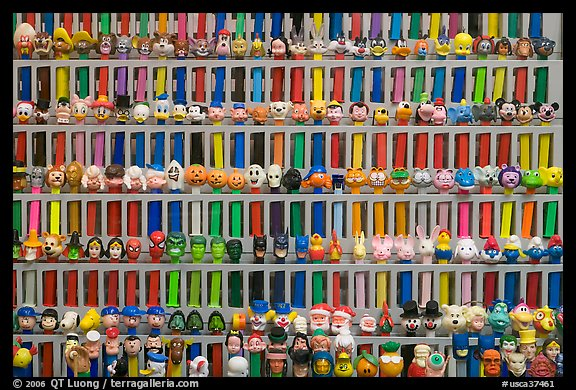 Set of Pez dispensers, Museum of Pez memorabilia. Burlingame,  California, USA (color)