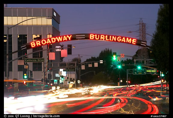 Broadway at dusk with lights from traffic. Burlingame,  California, USA (color)