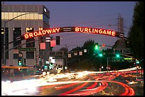 Broadway at dusk with lights from traffic. Burlingame,  California, USA ( color)