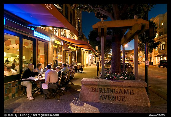 Burlingame Avenue at night. Burlingame,  California, USA (color)