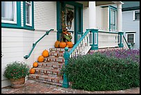 House entrance with pumpkins. Half Moon Bay, California, USA