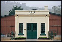 Tiny historic jail. Half Moon Bay, California, USA (color)
