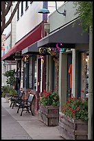 Storefront and public benches on Main Street. Half Moon Bay, California, USA (color)