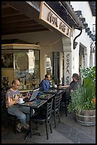 Men sitting at Cafe. Palo Alto,  California, USA (color)