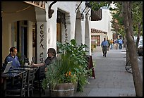 Cafe and sidewalk. Palo Alto,  California, USA (color)