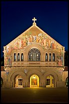 Memorial Church facade at night. Stanford University, California, USA