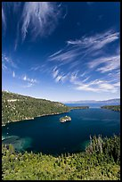 Emerald Bay and Lake Tahoe, Emerald Bay State Park, California. USA