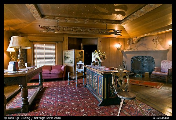 Living room, Vikingsholm castle, Lake Tahoe, California. USA (color)