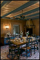 Dining room and dining table, Vikingsholm, Lake Tahoe, California. USA ( color)