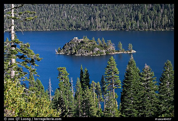 Forested slopes and Fannette Island, Emerald Bay, California. USA (color)