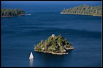 Mouth of Emerald Bay, Fannette Island, and sailboat, Lake Tahoe, California. USA ( color)