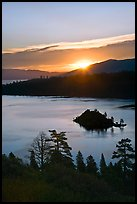 Sunrise over Emerald Bay and Fannette Island, California. USA