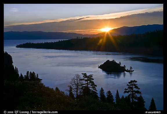 Sun shining under clouds, Emerald Bay and Lake Tahoe, California. USA (color)