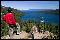 Man standing above Emerald Bay, Lake Tahoe, California. USA