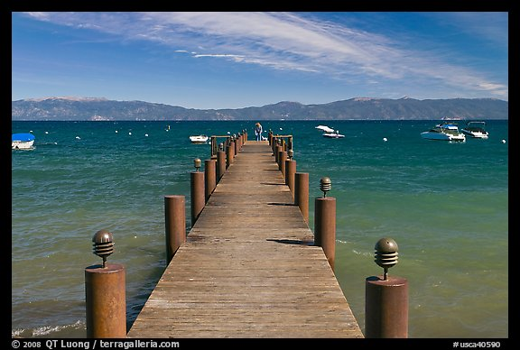 Wooden dock, West shore, Lake Tahoe, California. USA (color)
