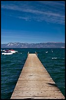 Dock, small boats, and blue waters, West shore, Lake Tahoe, California. USA (color)