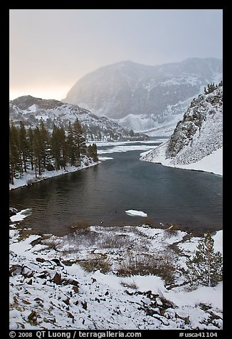 Early spring snow on Ellery Lake, sunrise. California, USA (color)