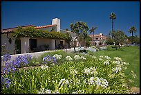 Mediterranean-style houses, flowers, and palm trees. Santa Barbara, California, USA ( color)
