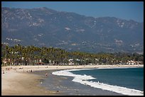 East Beach and mountains. Santa Barbara, California, USA (color)