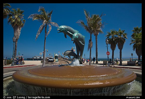 Dolphin fountain and beach. Santa Barbara, California, USA (color)