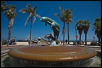Dolphin fountain and beach. Santa Barbara, California, USA