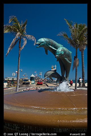 Dolphin statue and wharf. Santa Barbara, California, USA (color)