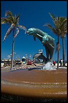 Dolphin statue and wharf. Santa Barbara, California, USA ( color)