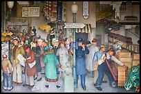 Coit tower mural depicting street scene in depression-area. San Francisco, California, USA (color)