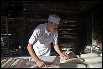 Baker preparing San Francisco sourdough bread. San Francisco, California, USA ( color)