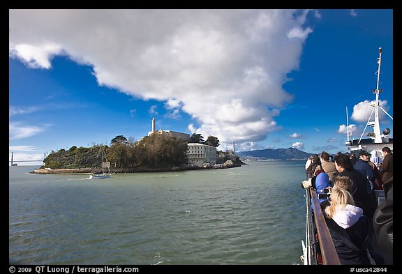 Approaching Alcatraz on tour boat. San Francisco, California, USA (color)