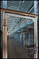 Grids and cells, Alcatraz Prison interior. San Francisco, California, USA (color)