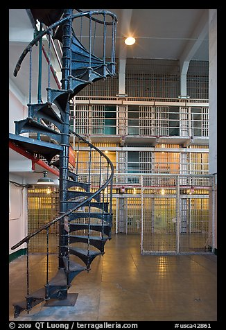 Spiral staircase inside Alcatraz prison. San Francisco, California, USA (color)