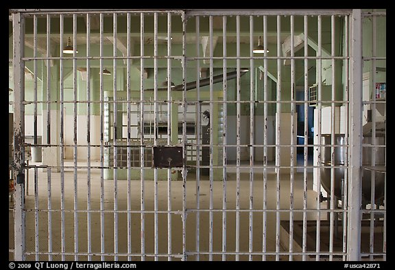 Dining hall, Alcatraz Penitentiary interior. San Francisco, California, USA