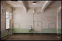 Lavatory and walls in main block, Alcatraz prison. San Francisco, California, USA ( color)