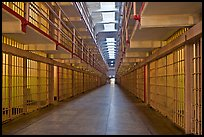 Row of prison cells, main block, Alcatraz prison interior. San Francisco, California, USA ( color)