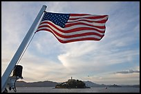 American Flag and Alcatraz Island. San Francisco, California, USA
