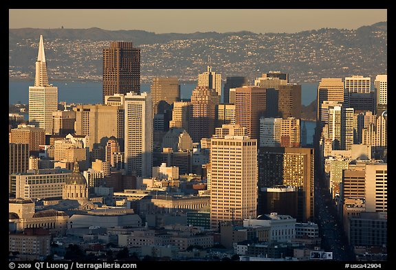 San Francisco skyline from Twin Peaks, late afternoon. San Francisco, California, USA (color)