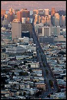 Market Avenue and downtown viewed from above at sunset. San Francisco, California, USA ( color)