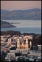 St Ignatius church, USF, and San Francisco Bay at sunset. San Francisco, California, USA