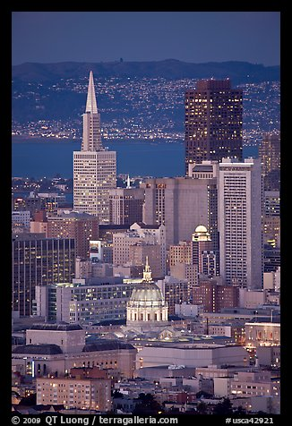 City Hall and Transamerica Pyramid at night. San Francisco, California, USA (color)