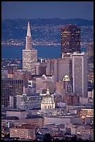 City Hall and Transamerica Pyramid at night. San Francisco, California, USA ( color)